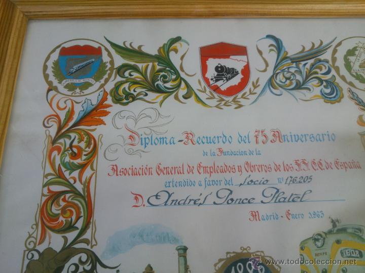 Coleccionismo de carteles: DIPLOMA RECUERDO 75 ANIVERSARIO RENFE.1888/1963.FIRMADO - Foto 5 - 47527689