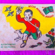 Coleccionismo de carteles: CARTELL MINIATURA DE LA DIADA DEL LLIBRE DEL 1936, AJUNTAMENT DE SABADELL. Lote 47534006