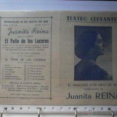 Coleccionismo de carteles: CARTEL DE TEATRO CERVANTES MALAGA 1957 JUANITA REINA ANTONIO QUINTERO RAFAEL DE LEON MANUEL QUIROGA. Lote 47536772