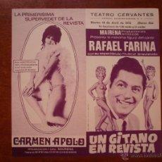 Colecionismo de cartazes: CARTEL DE TEATRO CERVANTES MALAGA 1972 RAFAEL FARINA UN GITANO EN REVISTA CARMEN APOLO ANA MISTRAL. Lote 47557969