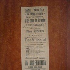 Collectionnisme d'affiches: CARTEL DE TEATRO VITAL AZA AÑO 1920 LA ARGENTINITA THE REMO LOS VILLASIUL. Lote 47574470