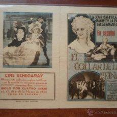 Coleccionismo de carteles: FOLLETO DE MANO PROGRAMA PROSPECTO DE CINE PELICULA , EL COLLAR DE LA REINA 1934 CINE ECHEGARAY. Lote 47589739