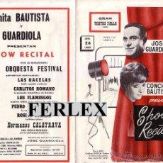 Coleccionismo de carteles: CÁDIZ.GRAN TEATRO FALLA.JOSÉ GUARDIOLA-CONCHITA BAUTISTA.SHOW RECITAL.VARIOS ARTISTAS.AÑO 1967.. Lote 47594947