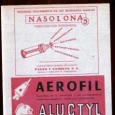 Coleccionismo de carteles: PUBLICIDAD MEDICAMENTOS * NASOLONA Y AEROFIL * (AÑOS 60). Lote 48227911