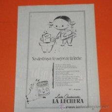Coleccionismo de carteles: PUBLICIDAD 1955 - COLECCION COMIDAS - LECHE CONDENSADA LA LECHERA. Lote 48477895