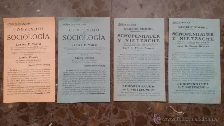 4 ANUNCIOS EN PAPEL PRINCIPIOS DE SIGLO XX. NUEVAS OBRAS LITERARIAS. APARECIDOS EN UN LIBRO DE 1910. (Coleccionismo - Carteles Pequeño Formato)