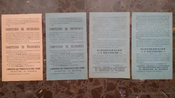 Coleccionismo de carteles: 4 ANUNCIOS EN PAPEL PRINCIPIOS DE SIGLO XX. NUEVAS OBRAS LITERARIAS. APARECIDOS EN UN LIBRO DE 1910. - Foto 2 - 48481019