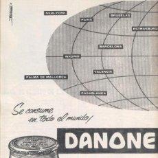 Coleccionismo de carteles: ANUNCIO PUBLICITARIO ** YOGHOURT DANONE ** SE CONSUME EN TODO EL MUNDO ! - 1964.. Lote 48488631