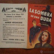 Colecionismo de cartazes: FOLLETO DE MANO PROGRAMA PROSPECTO DE CINE PELICULA , LA SOMBRA DE UNA DUDA , ALFRED HITCHCOCK. Lote 48517497