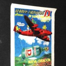 Coleccionismo de carteles: ANTIGUO Y EXCEPCIONAL CARTEL PUBLICITARIO GASEOSA D EN PAPEL DE SEDA. Lote 48645263