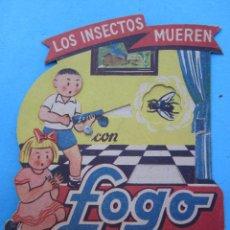 Coleccionismo de carteles: TROQUELADO EN MOVIMIENTO , PROPAGANDA DE FOGO INSECTICIDA DDT , SUCURSAL DE REUS. Lote 49669478