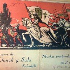 Coleccionismo de carteles: FELICITACION NAVIDAD 1927 CARTEL CARTON LITOGRAFIA SUCESORES DE LLONCH Y SALA SABADELL 32 / 26 CM A. Lote 50678138