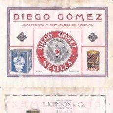 Coleccionismo de carteles: 09 - LITOGRAFIA AÑOS 20 - THORTON & CO. / EXPORTADORES – DIEGO GOMEZ / ACEITUNAS. Lote 51058039