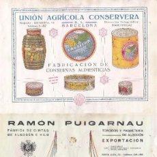Coleccionismo de carteles: LITOGRAFIA AÑOS 20 - UNION AGRICOLA CONSERVERA – RAMON PUIGARNAU / FAB. DE CINTAS DE ALGODÓN. Lote 51058068