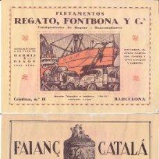 Coleccionismo de carteles: LITOGRAFIA AÑOS 20 - FAIANÇ CATALA / BRONCES – REGATO, FONTBONA Y CIA. / FLETAMENTOS. Lote 51058213