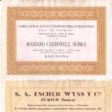 Coleccionismo de carteles: LITOGRAFIA AÑOS 20 - MARIANO CARBONELL / ACEITES DE SEMILLAS – S.A. ESCHER WYSS Y CIA. / TURBINAS. Lote 51058223