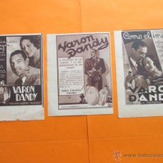 Coleccionismo de carteles: PUBLICIDAD 1934 - COLECCION PERFUMES - LOTE DE 3 ANUNCIOS DE VARON DANDY PERFUMERIA PARERA BADALONA. Lote 51128514