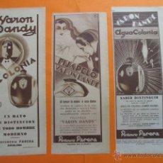 Coleccionismo de carteles: PUBLICIDAD 1929 - COLECCION PERFUMES - LOTE DE 3 ANUNCIOS DE VARON DANDY PERFUMERIA PARERA BADALONA. Lote 262896420