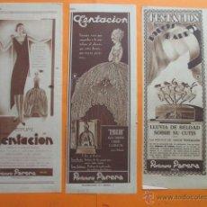 Coleccionismo de carteles: PUBLICIDAD 1930 - COLECCION PERFUMES - LOTE DE 3 ANUNCIOS DE TENTACION PERFUMERIA PARERA BADALONA. Lote 262896445