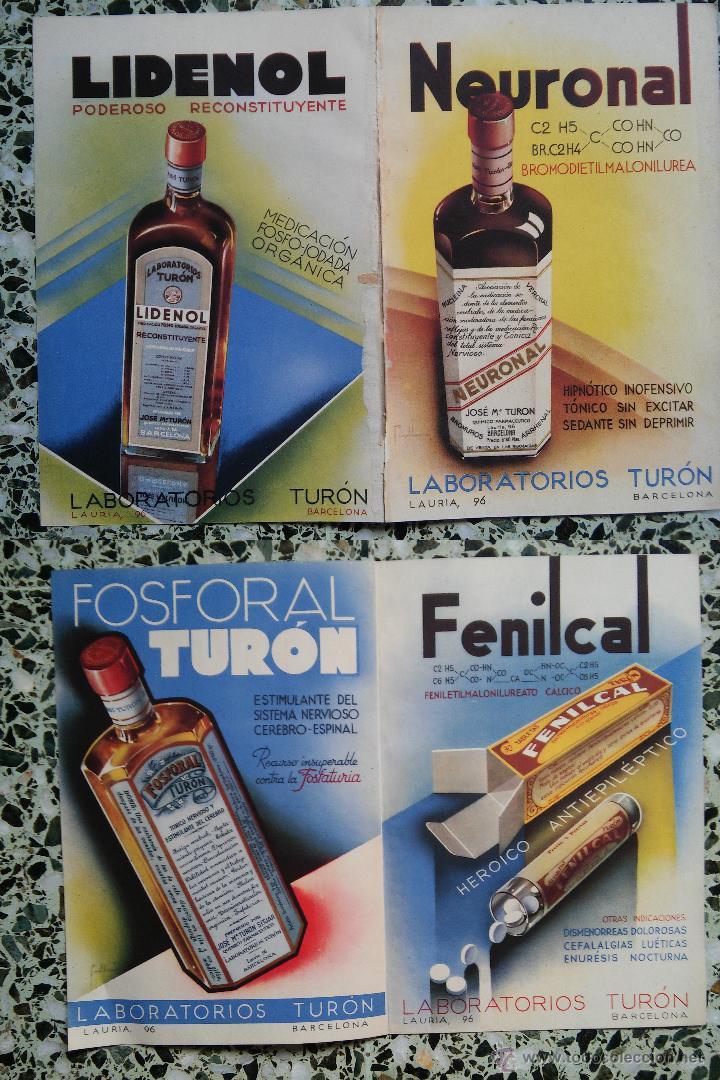 PUBLICIDAD MEDICAMENTOS ANTIGUOS - NEURUNAL - LIDENOL - FOSFORAL - FEMILCAL - LABORATORIO TURON - (Coleccionismo - Carteles Pequeño Formato)