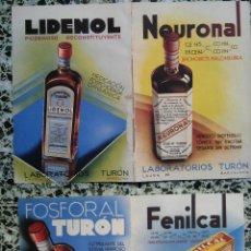 Coleccionismo de carteles: PUBLICIDAD MEDICAMENTOS ANTIGUOS - NEURUNAL - LIDENOL - FOSFORAL - FEMILCAL - LABORATORIO TURON - . Lote 51222849