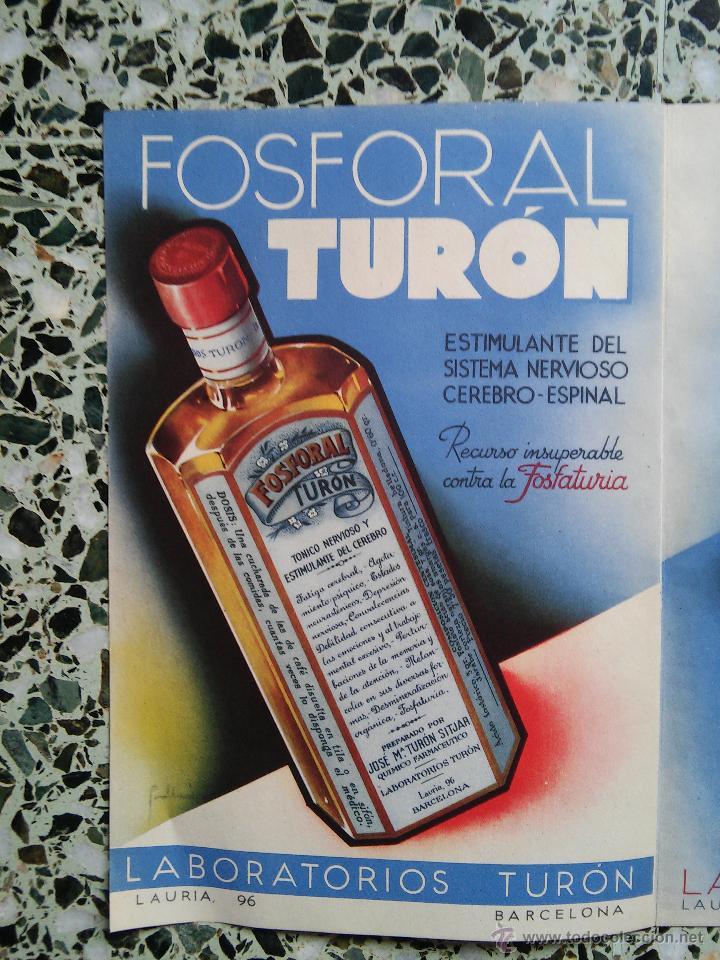 Coleccionismo de carteles: PUBLICIDAD MEDICAMENTOS ANTIGUOS - NEURUNAL - LIDENOL - FOSFORAL - FEMILCAL - LABORATORIO TURON - - Foto 2 - 51222849
