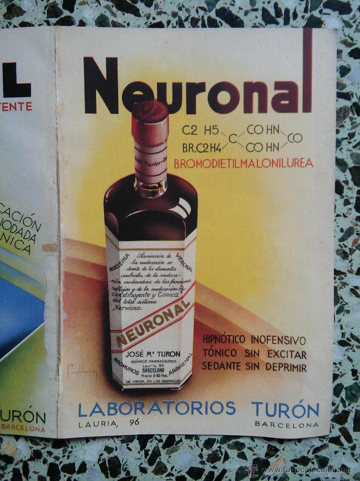 Coleccionismo de carteles: PUBLICIDAD MEDICAMENTOS ANTIGUOS - NEURUNAL - LIDENOL - FOSFORAL - FEMILCAL - LABORATORIO TURON - - Foto 5 - 51222849