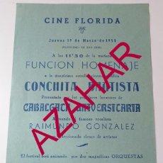 Coleccionismo de carteles: SEVILLA,1953, CARTEL HOMENAJE A CONCHITA BAUTISTA, RARO, 154X216MM. Lote 51294534