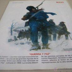 Coleccionismo de carteles: LAMINA: PERSONAJES DE LA FANTASIA: LEON TOLSTOI. GUERRA Y PAZ. Lote 51427891