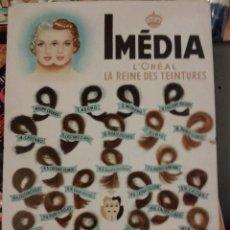 Coleccionismo de carteles: CARTEL ORIGINAL EN CARTON PUBLICIDAD DE TINTES IMEDIA. LOREAL. COLORAL. 34 X 24 CM . Lote 51608793