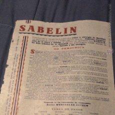 Coleccionismo de carteles: SABELIN, BARCELONA, CASA SEGALA, PUBLICIDAD FARMACIAS, PRINCIPIOS S.XX -DOCJ-. Lote 52468587