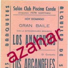 Coleccionismo de carteles: BADAJOZ, AÑOS 60, GRAN BAILE SALON CLUB PISCINA CONDE, LOS ANACRUSAS Y LOS ARCANGELES,158X218MM. Lote 52929340