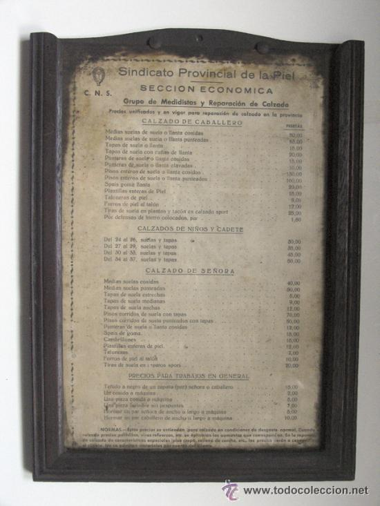 Antiguo panel de precios del sindicato provinci comprar - Reparacion relojes antiguos valencia ...