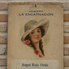 Coleccionismo de carteles: CARTEL ANTIGUO DE PUBLICIDAD - VAQUERIA LA ENCARNACION - MADRID. 27 X 40,4 CMS.. Lote 53035767