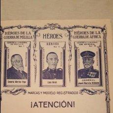 Coleccionismo de carteles: PUBLICIDAD, FOLLETO, AZAFRAN HEROES, BLAS PALOMARES, NOVELDA.. Lote 53834096