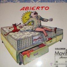 Coleccionismo de carteles: ORIGINAL CARTEL PUBLICITARIO COLCHON MOVIFLEX HORARIO TIENDA ABIERTO/CERRADO. Lote 53872932