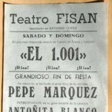 Coleccionismo de carteles: TEATRO FISAN - MADRID - CARTEL ANUNCIADOR . Lote 113223539