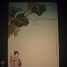 Coleccionismo de carteles: ANIS DEL MONO - CARTEL MENU -CAFE SPORT RESTAURANT- ILUSTRADO POR CARDUNETS -MIDE 23X38 CM- (V-4449). Lote 54470324