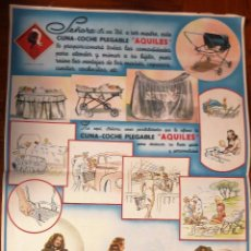 Coleccionismo de carteles: ANTIGUO CARTEL PUBLICIDAD CUNA COCHE PLEGABLE COCHECITO BEBE NIÑO AQUILES 36 / 27 CM . Lote 54706675