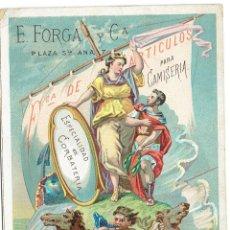 Coleccionismo de carteles: PS6156 TARJETÓN PUBLICITARIO DE CAMISERÍA E. FORGA Y CA. BARCELONA. 1877. Lote 208797002