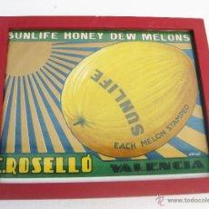Coleccionismo de carteles: ORIGINAL!!!! PARA ETIQUETA 32X22, PARA CAJA MELONES HONEY MELON SUNLIFE E.ROSELLO. VALENCIA. Lote 55040880