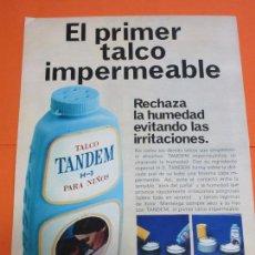 Coleccionismo de carteles: PUBLICIDAD 1969 - COLECCION PERFUMES - POLVOS DE TALCO TANDEM. Lote 55134761