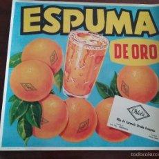 Coleccionismo de carteles: CROMO NARANJAS ESPUMA DE ORO. COMERCIO HIJO DE CARMELO ORTOLA FEMENIA. PEGO.. Lote 68856377
