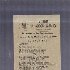 Coleccionismo de carteles: PEQUEÑO CARTEL. MUJERES DE ACCION CATOLICA CON ORACION. 15 X 11CM. Lote 56202659