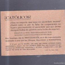 Coleccionismo de carteles: PEQUEÑO CARTEL. SOLICITANDO EL REZO POR EL CLERO. 15 X 11CM. Lote 56202702