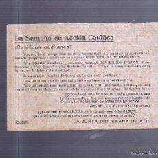 Coleccionismo de carteles: PEQUEÑO CARTEL. ACCION CATOLICA. SEMANA DE FORMACION. 15 X 11CM. Lote 56202747