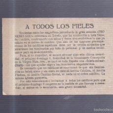 Coleccionismo de carteles: PEQUEÑO CARTEL. SOLICITANDO DONATIVO PRO SEMINARIO. 15 X 11CM. Lote 56202765
