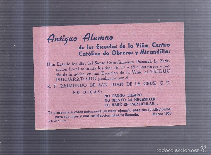 PEQUEÑO CARTEL. CADIZ. ESCUELA DE LA VIÑA. CENTRO CATOLICO Y MIRANDILLA. SOLICITUD ASISTENCIA. 15X11 (Coleccionismo - Carteles Pequeño Formato)
