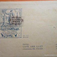 Coleccionismo de carteles: PUBLICIDAD 1924 - COLECCION COMIDAS - LECHE CONDENSADA EL PAGES . Lote 56324531
