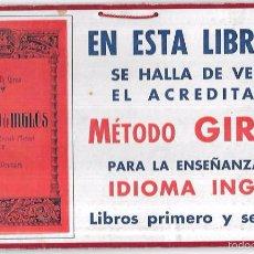 Coleccionismo de carteles: CARTEL PUBLICITARIO DE LIBRERIA. SE HALLA EN VENTA EL ACREDITADO MÉTODO GIRAU, ENSEÑANZA INGLES.. Lote 56381632
